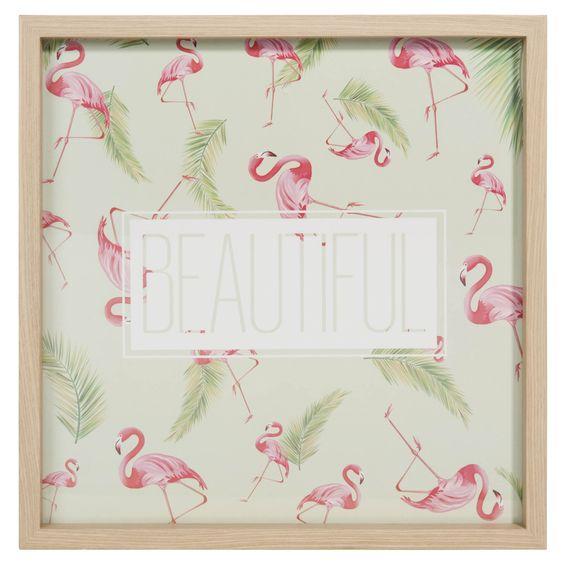 Tableau en bois et verre 30 x 30 cm BEAUTIFUL FLAMINGO | Maisons du Monde