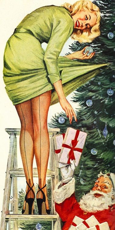 Sexy Alcohol Wallpaper | Christmas Pin-Up Vintage Cards for Xmas ...