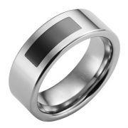 Modern Art Statement Rectangle Mens Tungsten Band Ring