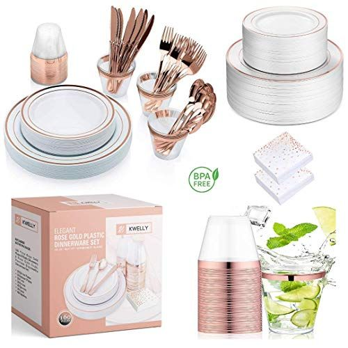 Kwelly Disposable Plastic Tableware Set Includes Plates Cutlery Napkins Cups For Dinner Party Bridal