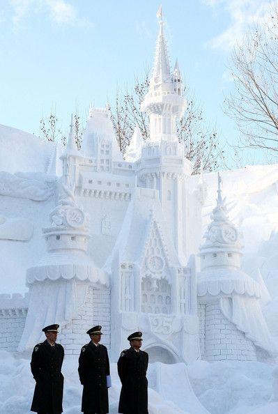 big castle snow sculpture #snowSculpture #snow #winter #sculpture #castle