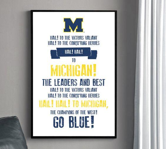 Michigan Fight Song Poster - University of Michigan. $22.00, via Etsy.