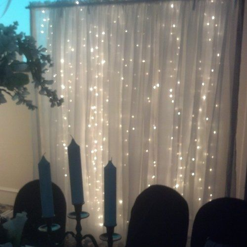 6 White Sheer Curtain Backdrop With Drop Lights For Bridal Party