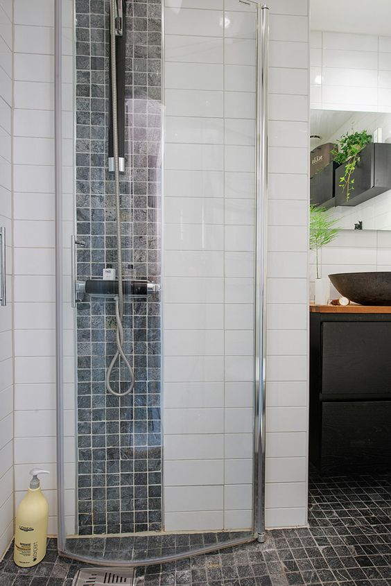 Adorable tiny apartment with intriguing layout in Sweden Shower Stall