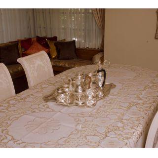 Two Tone French Floral Lace Tablecloth 72 x 126 inch