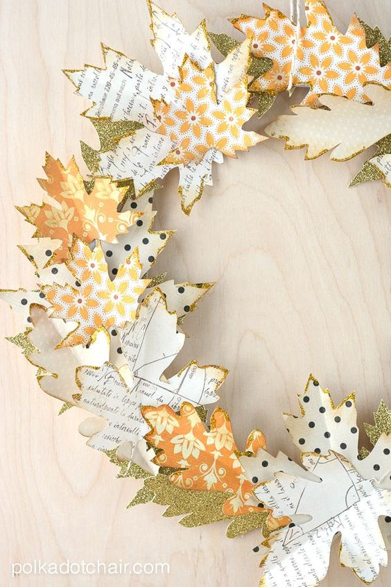 Autumn Paper Leaf Wreathcountryliving