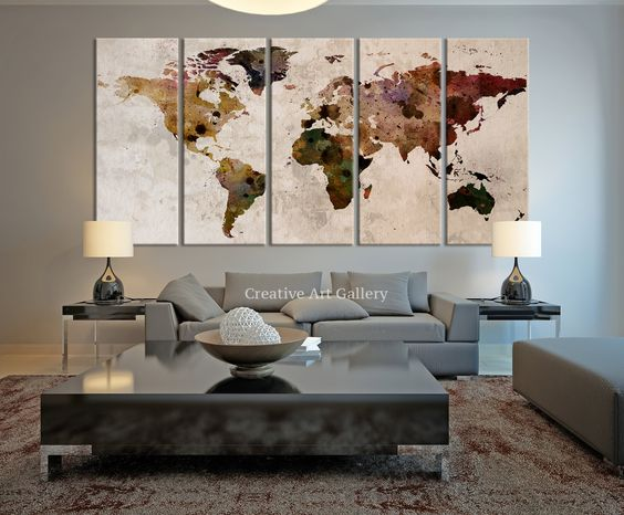 Large Canvas Print Rustic World Map, Large Wall Art World Map Art, Extra Large Vintage World Map Print for Home and Office Wall Decoration   ◆