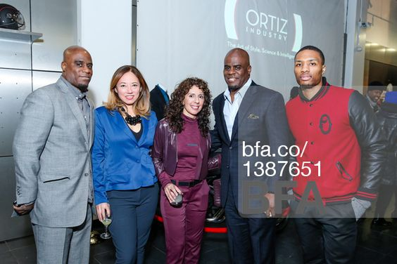 Eric Goodwin, Heather Park, Claire Ortiz, Aaron Goodwin, Damian Lillard at Empowered ORTIZ INDUSTRY x DUCATI TRIUMPH NYC NYFW F/W15 Launch. #BFAnyc