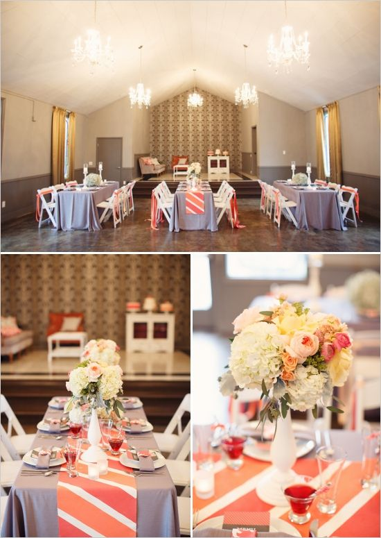 Cheerful Wedding Inspiration In Coral And Gray Runners
