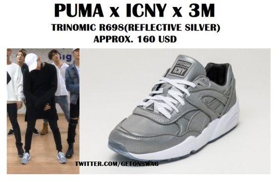 SUGA #BTS 160602 '뱁새' Dance Practice  #SUGA #민윤기  Puma Trinomic R698 x ICNY x 3M Reflective Silver pic.twitter.com/nEloarff9P