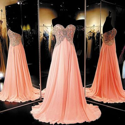 Long Chiffon Coral Prom Dress Elegant Prom Dresses Elegant Prom ...