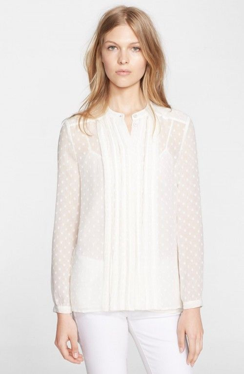 Burberry Women's Brit Dot Print Pleat Silk Blend Blouse | Top and Clothing