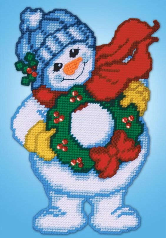 Plastic canvas crafts plastic canvas cute pinterest for Plastic snowman