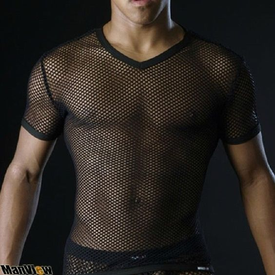 Hot hot New Men's Sexy Mesh See Through mesh Short-sleeve T-shirt  Size M L XL  #MV #PersonalizedTee