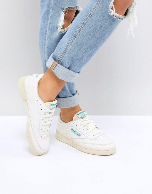 new concept c82d1 9c090 Reebok Classic Club C Vintage Sneakers In Chalk With Green ...