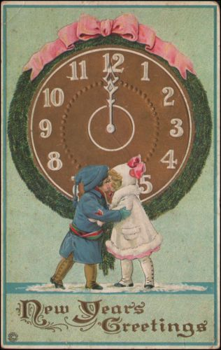 New Year's Greetings, clock at midnight, embossed unused postcard