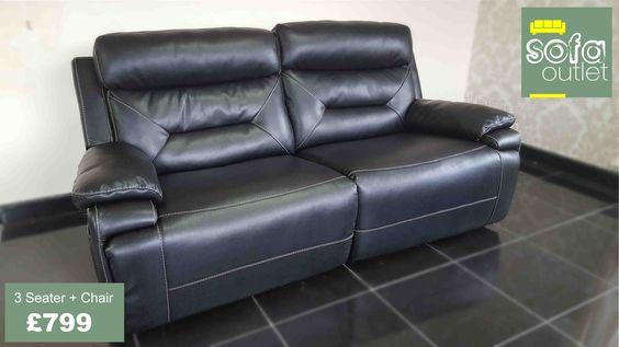 Designer Black Leather 3 seater + chair (64) £799