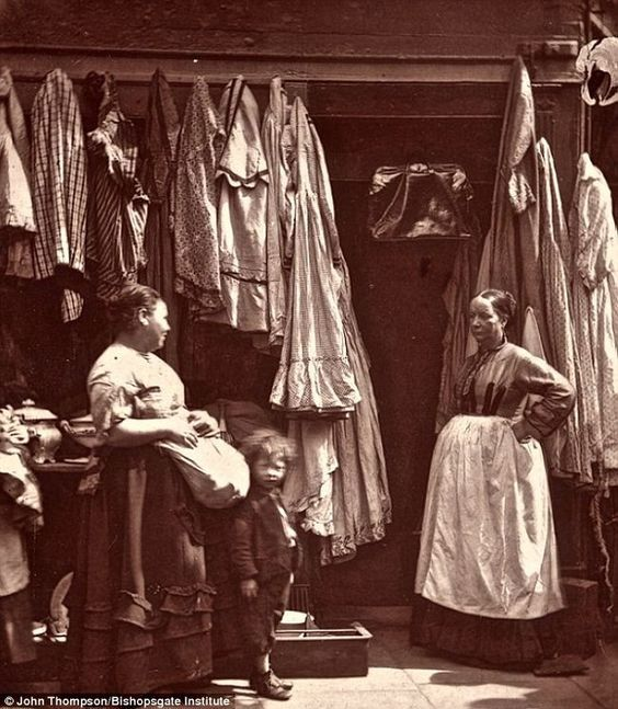 Victorian London, An Old Clothes Shop, c.1876.
