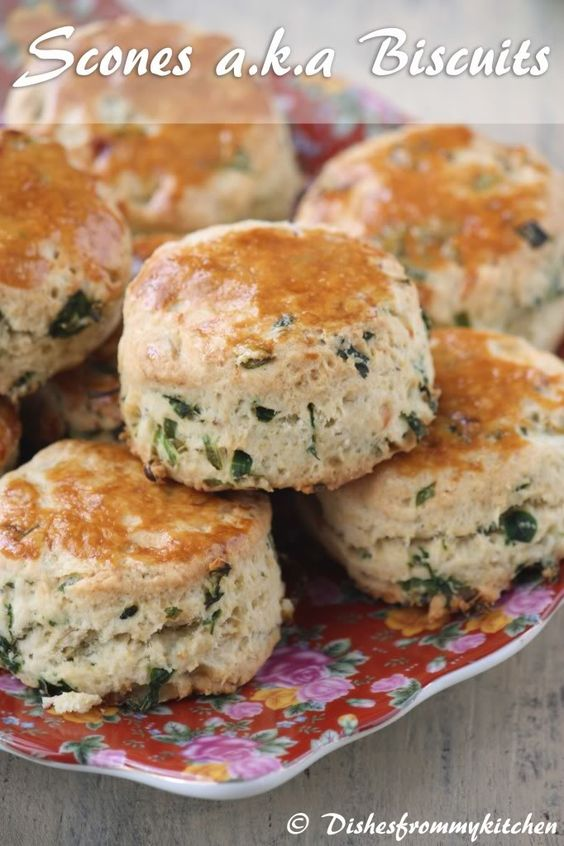 Herb and Caramelized Onion Scone - SCONES a.k.a BISCUITS - DARING BAKERS 2012 _ It includes caramelized onion, finely chopped green chilies, Scallions, lots of coriander leaves with hint of whole cumin.