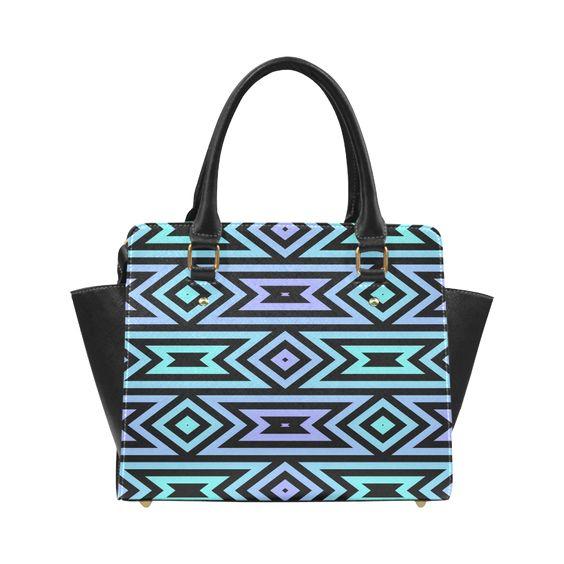 Aztec Pattern (Aqua/Lilac) Classic Shoulder Handbag (Model 1653)