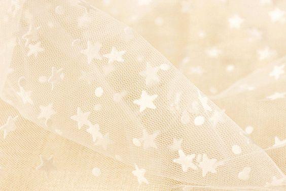 Bordado estrellas blanco boda encaje tela nupcial por Gideonstudio