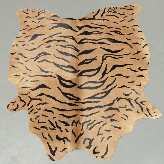 Stenciled Tiger Print Cowhide Rug Cowhidesinternational