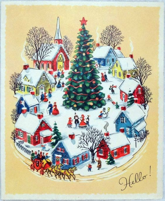 #751 50s Bustling Town Scene, Tree, Vintage Christmas Card-Greeting: