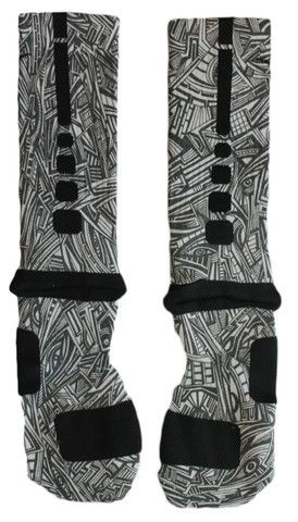 Sock Swagger | Custom Nike Elite Socks, Apparel, Nike Air Jordans, and Accessories - Custom Nike Elite Crew Basketball Socks - Aztec Edition