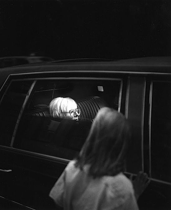 Andy Warhol snapped in his limousine, New York, 1980s, photographer unknown: White Photography, Black And White, Photography Portraits, Andywarhol, Black White Pics, Artist Photos, Andy Warhol