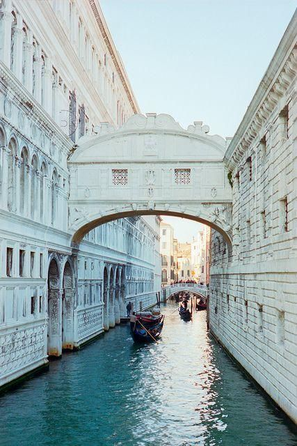 Bridge of Sighs, Venice, Italy - Local legend says that lovers will be granted eternal love and bliss if they kiss on a gondola at sunset under the Bridge of Sighs as the bells of St Mark's Campanile toll