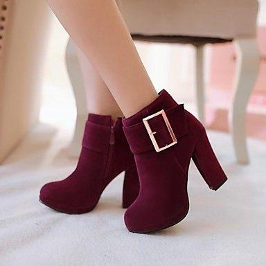 sapatos femininos rodada toe ankle boots salto robusto mais cores disponíveis – EUR € 25.35: