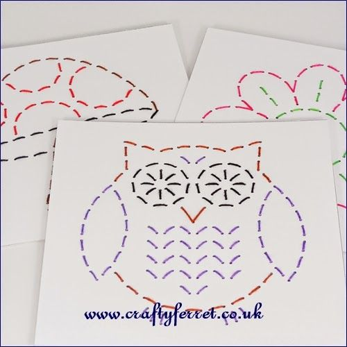 Stitch a picture easy to do embroidery on card pricking