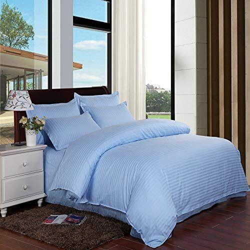 Hokuga Satin Stripe Solid Color Bedding Sets Home Textiles Duvet Cover Flat Bed Sheet Pillowcase 100 Cotton Hotel Bedding Sets Bed Cotton Bedding Sets