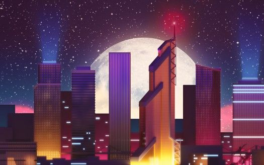 Neon City 4k Abstract Wallpaper City Wallpaper Synthwave