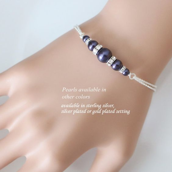CUSTOM Bridesmaid Bracelet, Swarovski Regency Dark Purple Pearl Bridesmaid Bracelet, Bridal Bracelet, Bridesmaid Gift, Maid of Honor Gift