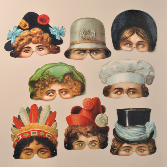 Reproduction paper party masks from c1890-1900 found at the Speilzeugmuseum Nurnberg museum in Germany - these affordable masks are by Mamelok at http://www.mamelok.com/masks/speilzeugmuseum-nurnberg-masks/prod_404.html