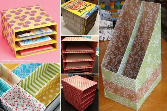 Caixa de sucrilhos reaproveitada como revisteiro.  Encapar com papel é mais fácil. Encapar com tecido leva mais tempo mas deixará o resultado final mais durável.