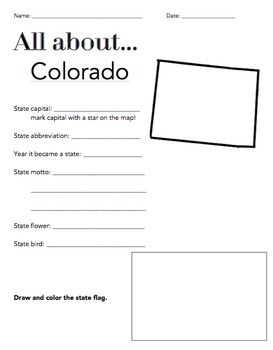 Colorado State Facts Worksheet: Elementary Version | Worksheets ...