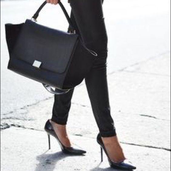 Joey O black pumps. Joey O black snakeskin embossed pointed toe pumps. Leather upper. 4 inch heels. Size 7.5. Joey O Shoes Heels