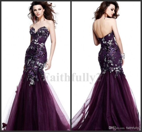 Wholesale Celebrity Dresses Gowns - Buy 2014 Grape Purple Sweetheart Evening Dresses Tarik Ediz 81053 Mermaid Embroidery Backless Sheath Pro...