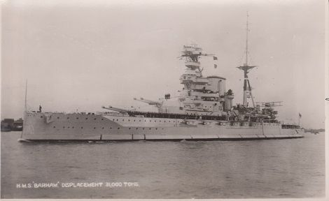 Postcard of the battleship HMS Barham From the WW II collection of C.E.R.A Albert Sayer, R.C.N.V.R.