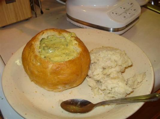 Panera Sourdough bread bowl and broccoli cheddar soup replica