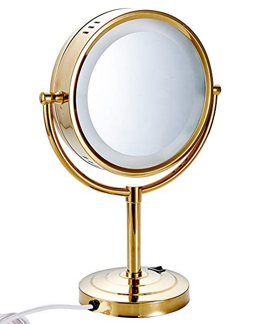Cavoli 8 5 Inch Led Makeup Mirror With 10x Magnification Tabletop Two Sided Gold Finish 8 5in 10x Review Led Makeup Mirror Makeup Mirror Extendable Bathroom Mirrors