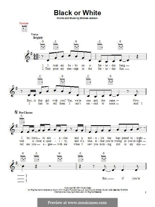 Black Or White Jackson Guitars Easy Sheet Music Jackson