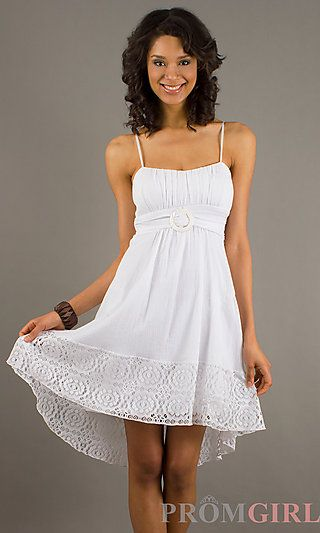 Cute and Playful Short White Summer Dress by Ruby Rox at PromGirl ...