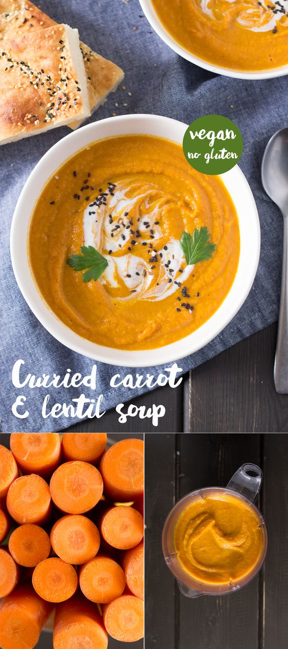 Delicious curried carrot and red lentils soup is a perfect cold weather meal