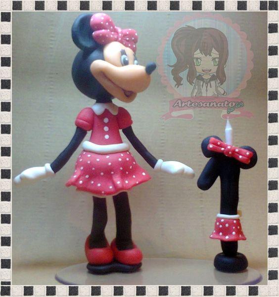 Topo de bolo com vela/Minnie rosa