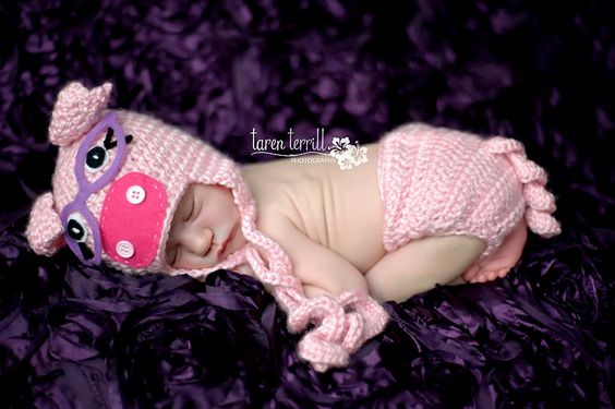 Crochet Newborn Smart Piggy Hat and Diaper cover  - PDF Pattern - Not the actual item. $5.95, via Etsy.