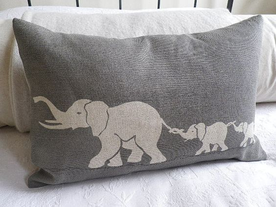 Hand printed elephant family pillow cover: