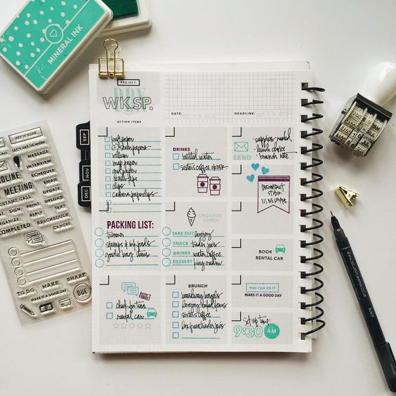 """I put my new Clearly Kelly planner stamps to work in my @gettoworkbook to organize details for the PDX workshop this weekend. Look how well they work…"":"